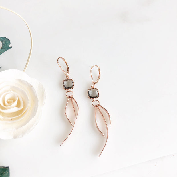 Charcoal Stone Rose Gold Statement Earrings. Fun Earrings.