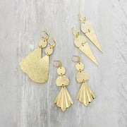 Geometric Brushed Gold Earrings. Unique Shape Dangle Earrings. Pleated Fan Cone Triangle