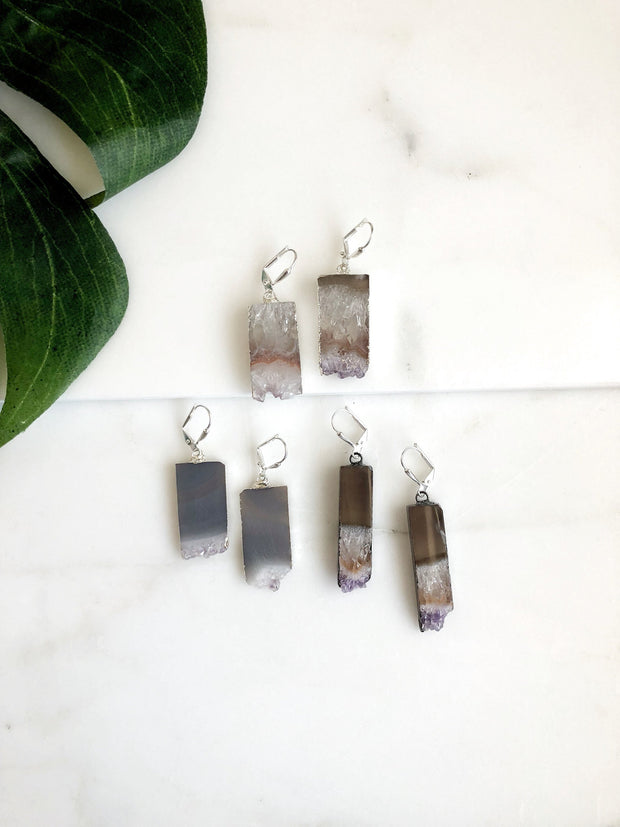 Amethyst Slice Geode Earrings in Silver. Amethyst Earrings. Geode Dangle Earrings. Gift for Her. Valentines Day Gift.