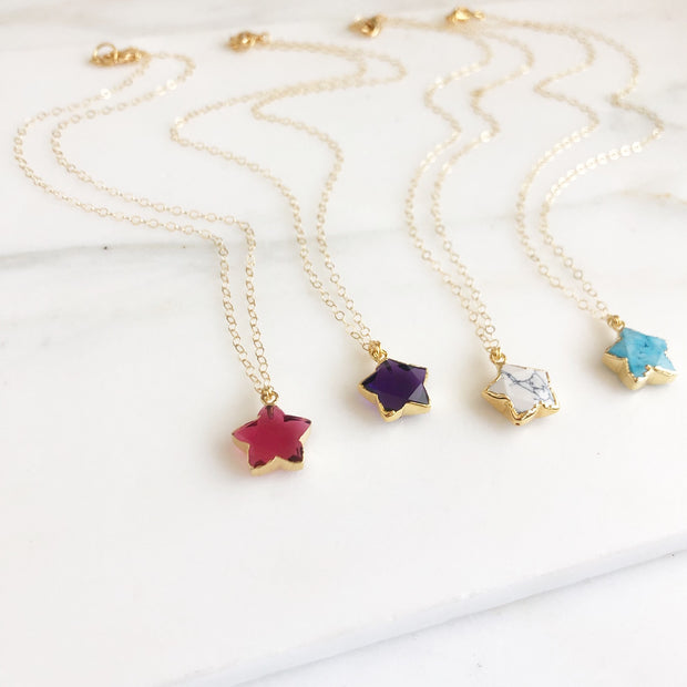 Star Necklace. Gemstone Star Necklace. Stone Necklace. Simple Necklace. Layering Necklace. Jewelry.