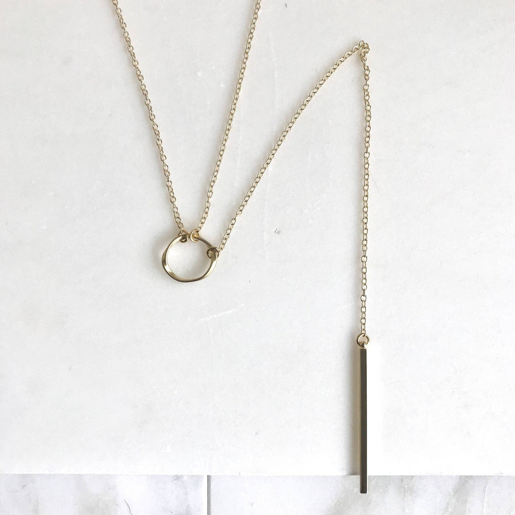 Long Lariat Necklace with Gold Circle Charm and Gold Bar. Gold Y Necklace. Gold Lariat. Jewelry Gift.