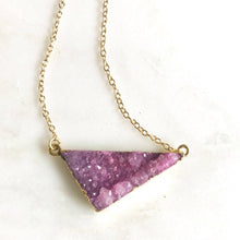 Load image into Gallery viewer, Druzy Necklace. Aqua Purple Pink Druzy Necklace. Pink Triangle Druzy Necklace. Crystal Pink Geode Necklace. Jewelry. Gift.