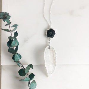 Black Solar Quartz Necklace with Silver Leaf in Sterling Silver.