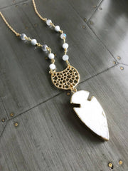 White Arrow and Crescent Necklace in Gold. Long Boho Pendant Necklace