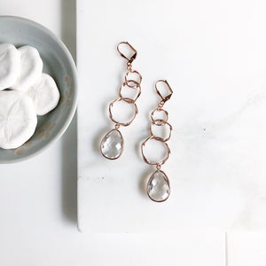 Rose Gold Statement Earring. Long Rose Gold Earrings with Champagne Stones. Multiple Circle Drop Rose Gold Earrings. Rose Gold Jewelry.