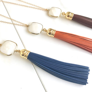 Tassel Necklace. Leather Tassel Necklace. White Stone and Blue Brown or Orange Tassel Necklace. Long Tassel Necklace. Boho Tassel Jewelry.