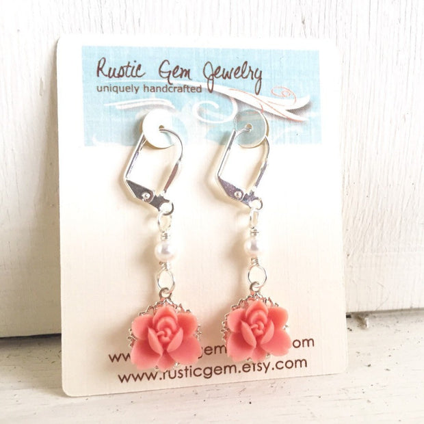 Sweet Coral Lotus Flower Bridesmaid Earrings and Small White Swarovski Pearl Dangle Earrings Jewelry Gift for Her
