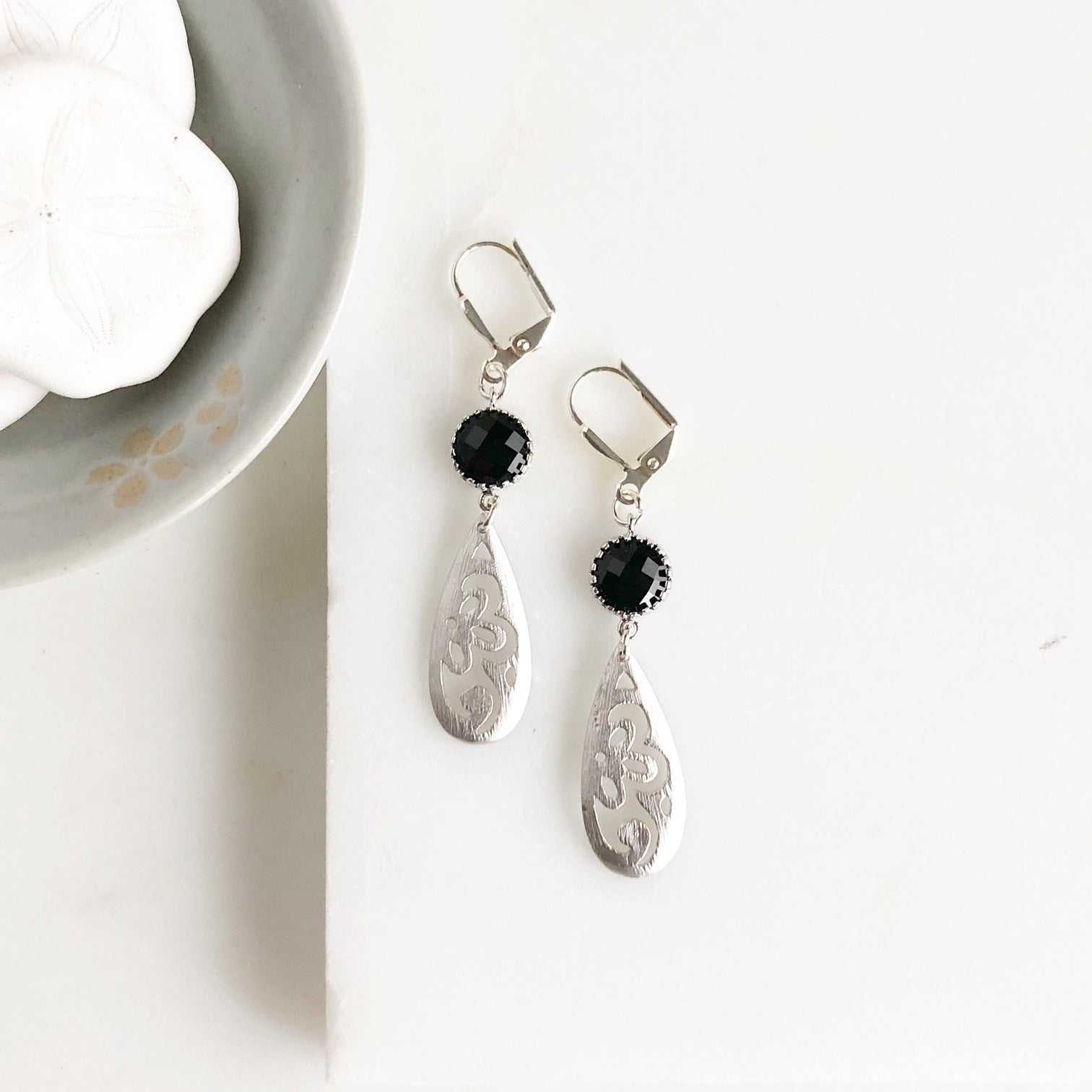 Sweet Black Stone and Silver Drop Earrings. Silver and Black Dangle Earrings. Jewelry Gift.