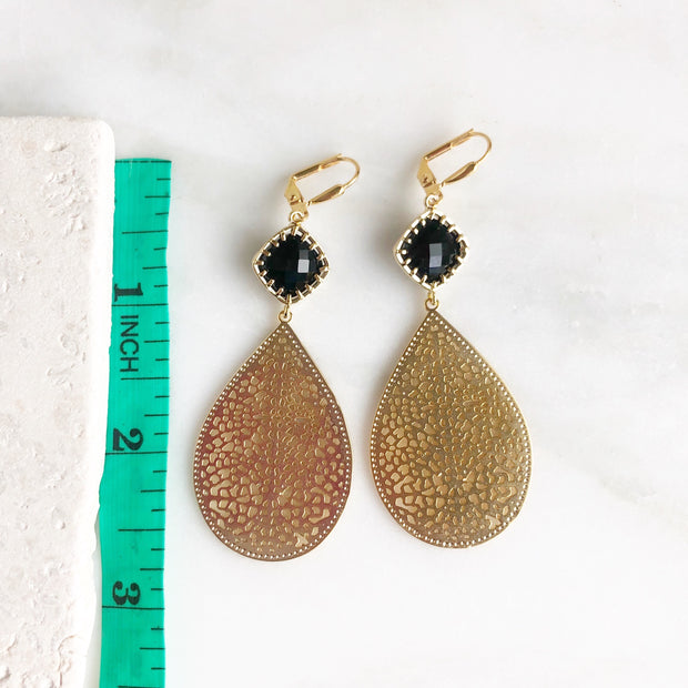 Black Stone and Gold Teardrop Chandelier Earrings