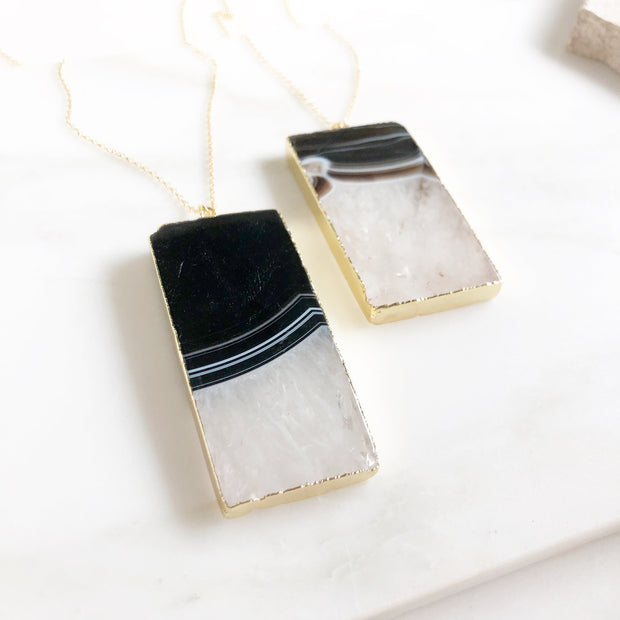 Large Statement Stone Necklace. Chunky Rectangle Stone Necklace