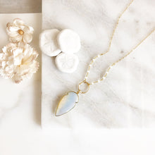 Load image into Gallery viewer, Long Moonstone Necklace in Gold. Long Moonstone Shield Necklace. Jewelry.