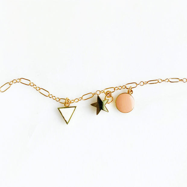 Gold Charm Bracelet. Dainty Gold Chain Bracelet with Pretty Charms