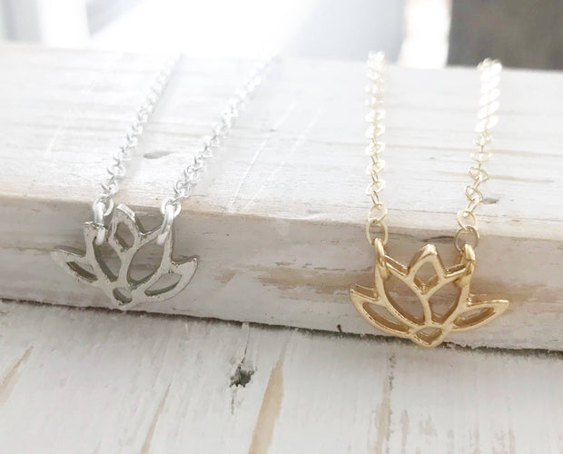 Dainty Lotus Necklace in Silver or Gold. Yoga Lotus Charm Necklace