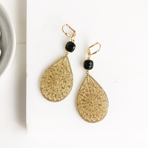 Gold and Black Statement Earrings. Chandelier Earrings Black Stones. Black Gold Teardrop Earrings