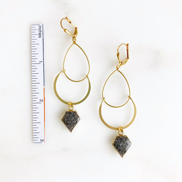 Gemstone Shield and Double Drop Dangle Earrings in Gold. Fashion Gold Earrings