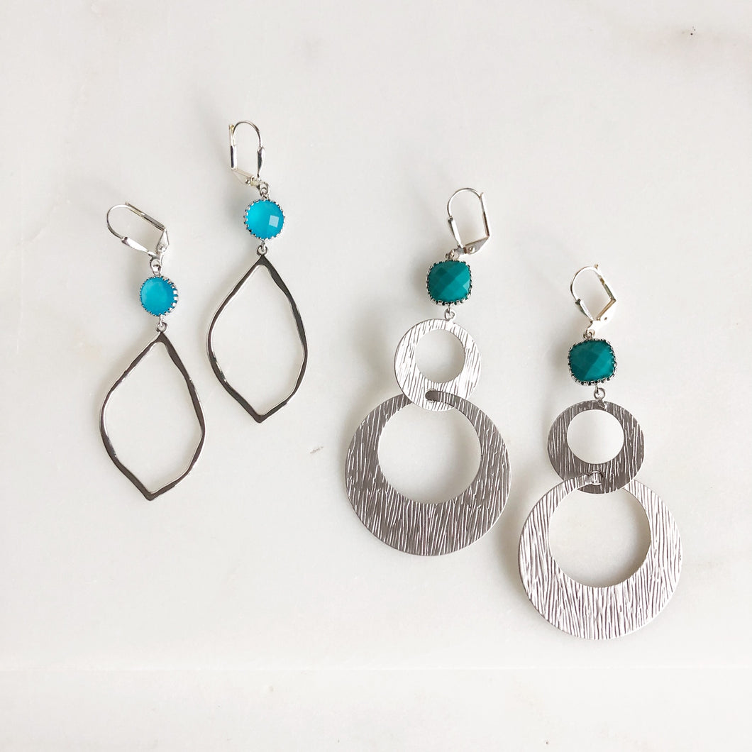 SALE - Silver Dangle Earrings with Blue Stones