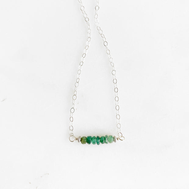 Emerald Beaded Bar Necklace in 14k Gold Filled or Sterling Silver. Simple Bar Necklace