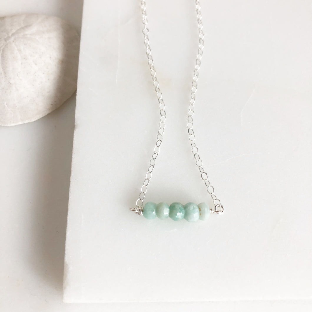 Amazonite Beaded Necklace. Silver Beaded Bar Necklace Delicate Necklace. Simple Layering Necklace.