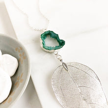 Load image into Gallery viewer, Long Silver Leaf and Emerald Green Druzy Necklace. Pendant Necklace. Druzy Necklace. Boho Necklace. Jewelry. Gift.