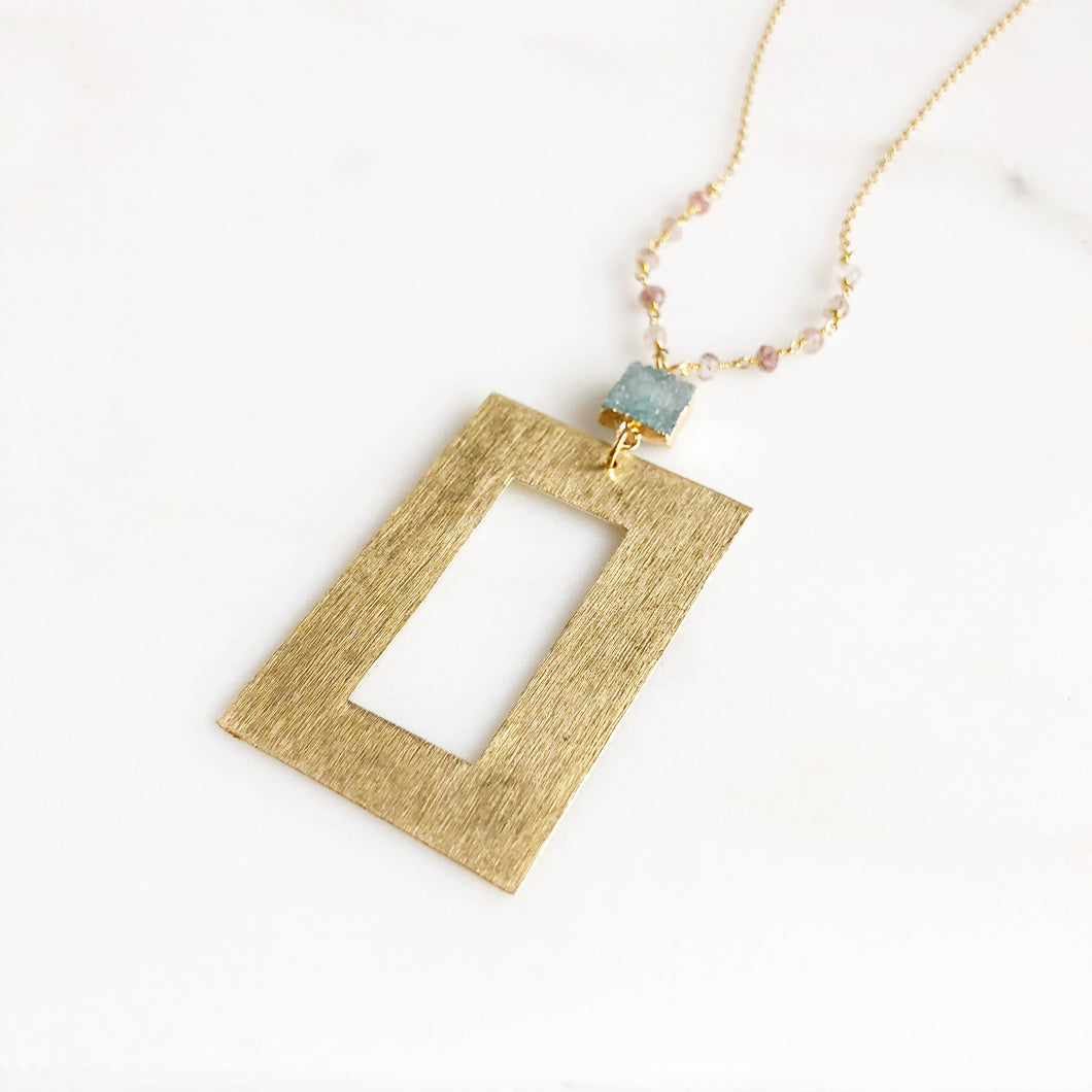 Long Geometric Druzy Necklace with Strawberry Quartz