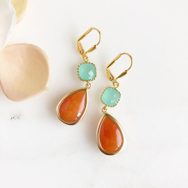 Burnt Orange Teardrop and Aqua Stone Dangle Earrings. Tangerine Orange Earrings