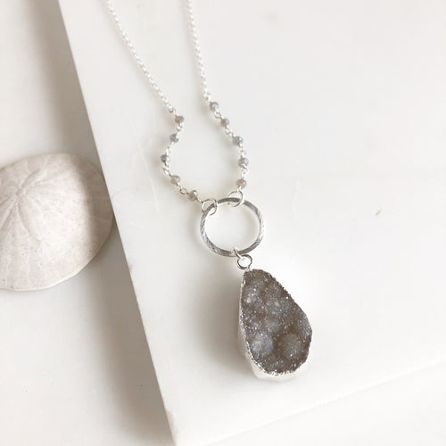 Dainty Long Grey Druzy Necklace in Sterling Silver