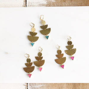 Gold Statement Earrings. Gold Druzy Earrings. Moon Phase Earrings with Coloful Triangle Druzy.