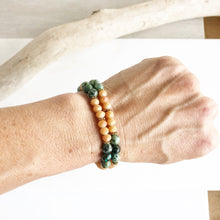 Load image into Gallery viewer, Set of Two Beaded Stretch Bracelets. Boho Beaded Bracelet. Peach and Green Beaded Stacking Bracelet. Holiday Gift. Christmas Gift.