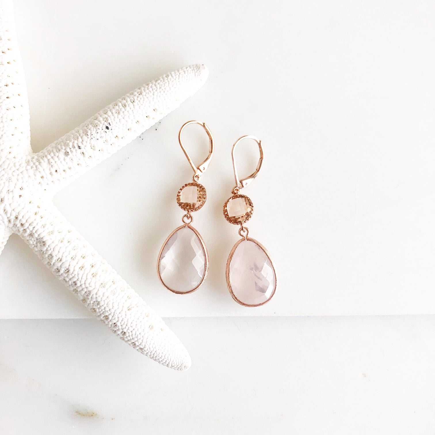 Rose Quartz and Champagne Stone Drop Earrings in Rose Gold.