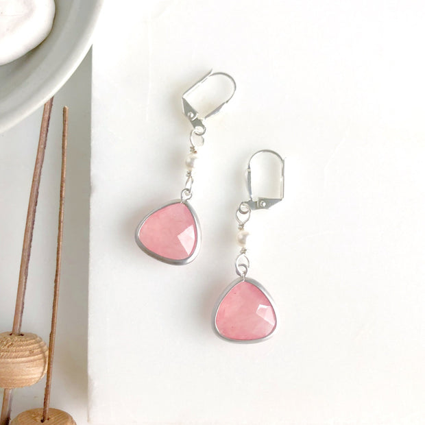 SALE Coral Pink Teardrop and White Swarovski Pearl Dangle Earrings in Silver. Jewelry Gift for Her.