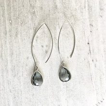 Load image into Gallery viewer, Drop Earrings. Charcoal Dangle Earrings. Charcoal Jewelry. Bridesmaids Earrings. Bridal Jewelry. Grey Drop Earrings. Wedding Earrings.