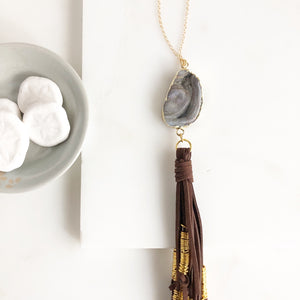 Boho Tassel Necklace. Grey Druzy and Brown Tassel Necklace. Long Stone Tassel Necklace. Boho Style.