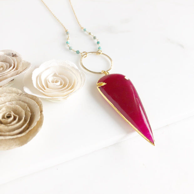 Long Magenta Pink Chalcedony Arrow Necklace with Aqua Amazonite Beading in Gold.