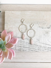 Load image into Gallery viewer, Pale Pink Stone Hoop Earrings in Silver. Hoop Earrings. Pastel Baby Pink Silver Hoops.