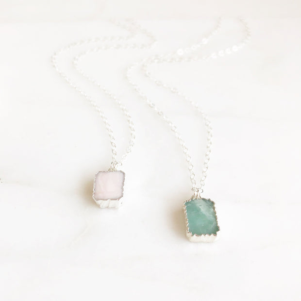 Dainty Silver Gemstone Necklace. Sterling Silver Rectangle Necklace. Soft Pink and Aqua Stones.