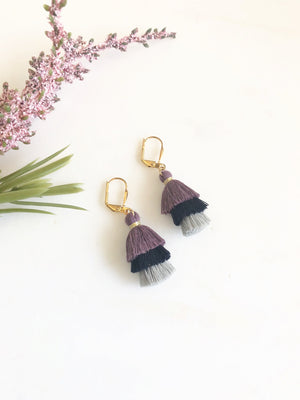 Cute Puffy Dangle Earrings in Shades of Purple and Grey. Tassel Earrings. Jewelry Gift.