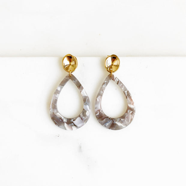 Gold Post and Large Acrylic Teardrop Statement Earrings. Neutral Gold Earrings