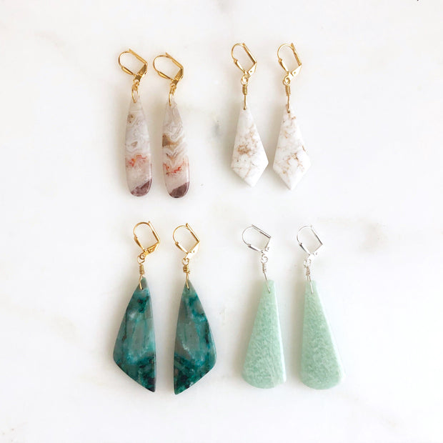 Unique Shape Gemstone Earrings in Agate, Howlite, Chrysocolla and Amazonite