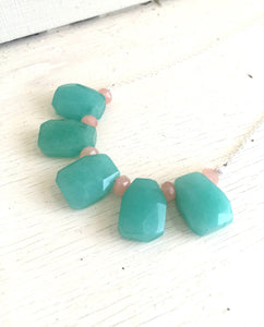 Teal Bib Necklace. Statement Jewelry. Bib Statement Necklace. Peach Aqua. Gift. Modern Jewelry. Teal Statement Jewelry. Fashion.