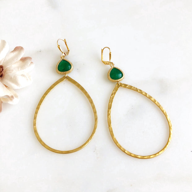 Big Open Teardrop Statement Earrings with Green Stones. Gold Hoop Earrings