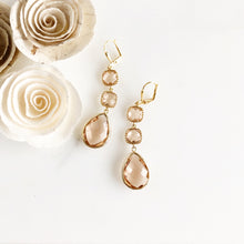 Load image into Gallery viewer, Long Champagne Dangle Earrings in Gold.