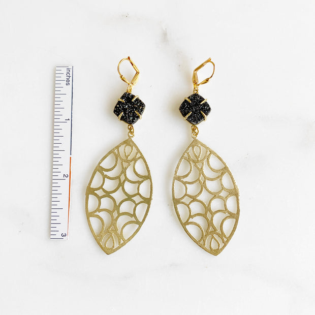 Black Druzy and Gold Statement Earrings. Gold Dangle Fashion Earrings