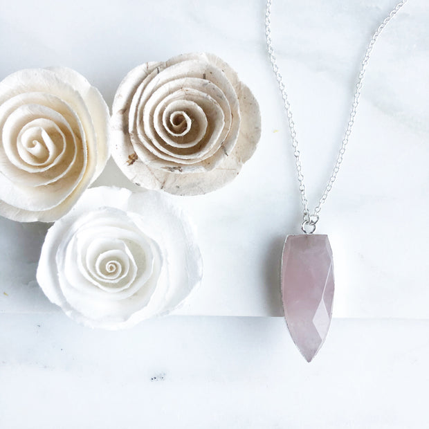 Rose Quartz Shield Necklace in Sterling Silver