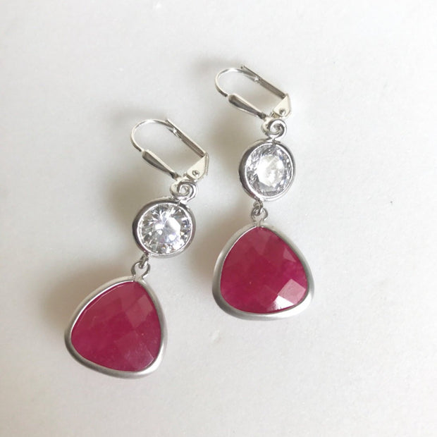 Fuchsia Valentines Day Earrings. Pink Valentines Jewelry. Dangle Earrings Drop Earrings