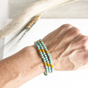 Set of Three Beaded Stretch Bracelets. Boho Beaded Bracelet. Aqua and Mustard Beaded Stacking Bracelet. Holiday Gift. Christmas Gift.