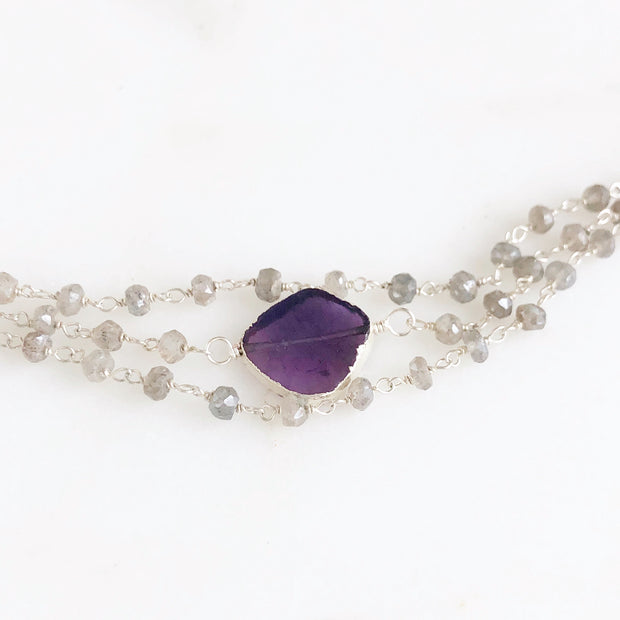 Triple Strand Amethyst and Labradorite Bracelet in Silver