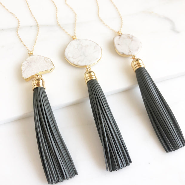 Long Gold Tassel Boho Necklace. White Howlite and Grey Leather Tassel Necklace