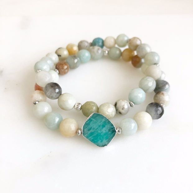 Set of 2 Stretchy Beaded Bracelets with Amazonite in Silver