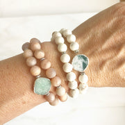 Set of 2 Stretchy Beaded Bracelets with Tree Agate Slice Stone and White Howlite Beading in Silver