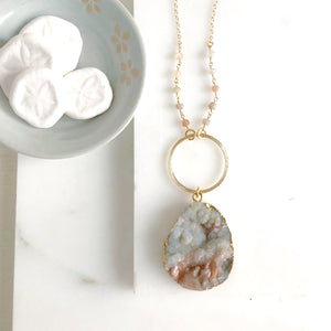 Long Druzy Necklace. Long Beaded Necklace. Boho Jewelry. Stone Necklace. Fall Jewelry. Gift.